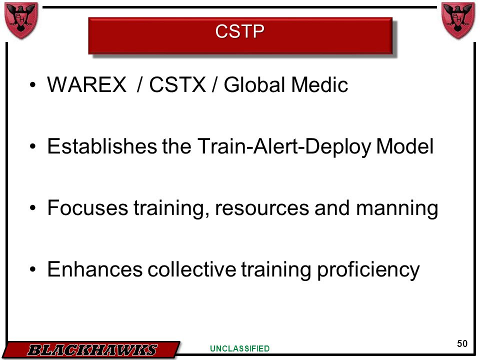 50 UNCLASSIFIED CSTPCSTP WAREX / CSTX / Global Medic Establishes the Train-Alert-Deploy Model Focuses training, resources and manning Enhances collect