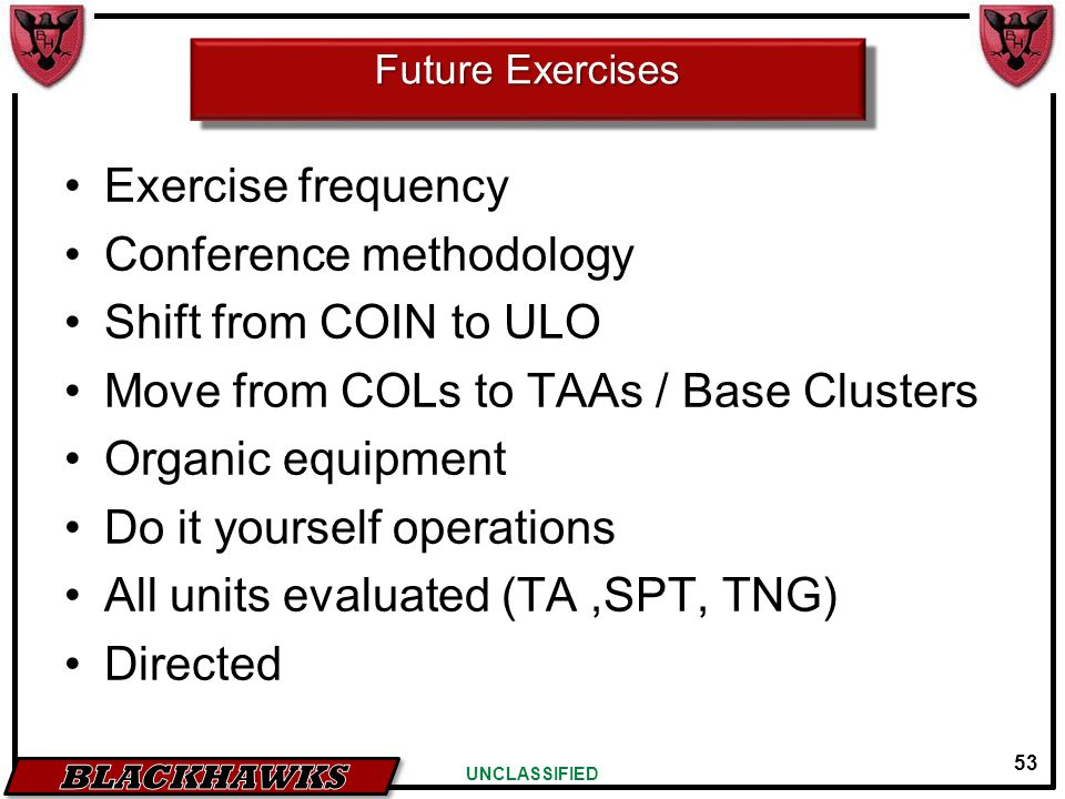 53 UNCLASSIFIED Future Exercises Exercise frequency Conference methodology Shift from COIN to ULO Move from COLs to TAAs / Base Clusters Organic equip