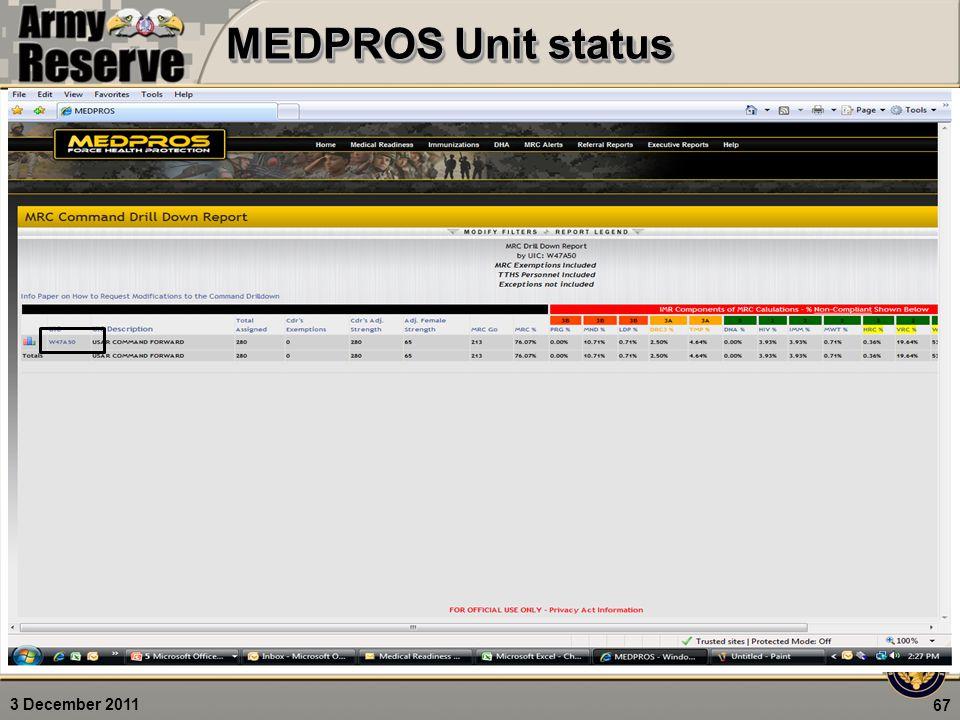 3 December 2011 MEDPROS Unit status 67