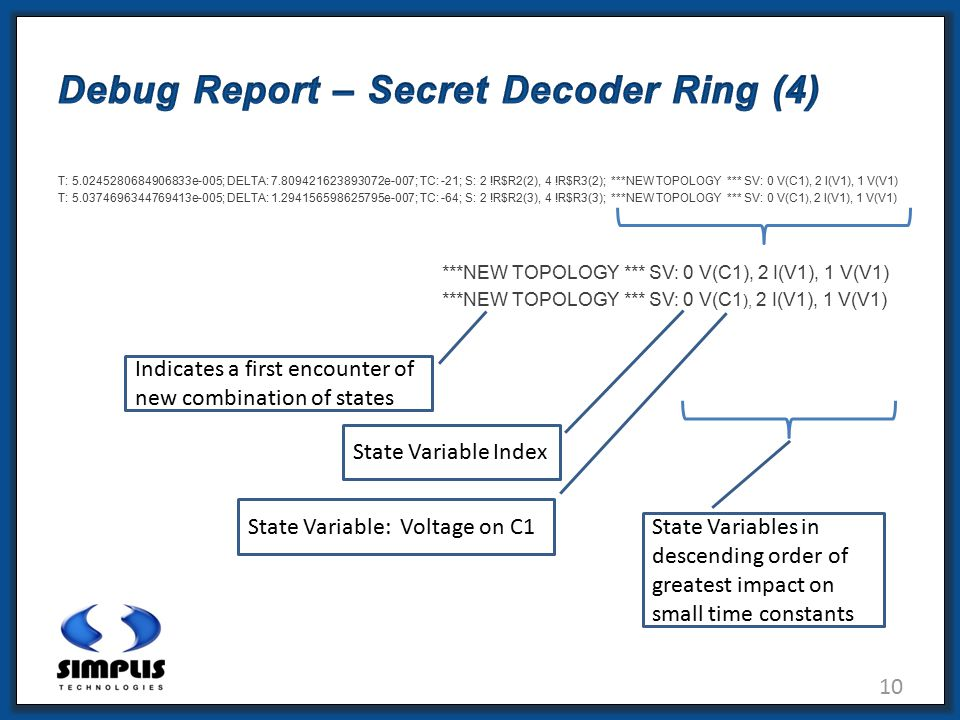 10 Debug Report – Secret Decoder Ring (4) T: 5.0245280684906833e-005; DELTA: 7.809421623893072e-007; TC: -21; S: 2 !R$R2(2), 4 !R$R3(2); ***NEW TOPOLOGY *** SV: 0 V(C1), 2 I(V1), 1 V(V1) T: 5.0374696344769413e-005; DELTA: 1.294156598625795e-007; TC: -64; S: 2 !R$R2(3), 4 !R$R3(3); ***NEW TOPOLOGY *** SV: 0 V(C1 ), 2 I(V1), 1 V(V1) ***NEW TOPOLOGY *** SV: 0 V(C1), 2 I(V1), 1 V(V1) Indicates a first encounter of new combination of states State Variables in descending order of greatest impact on small time constants State Variable: Voltage on C1 State Variable Index