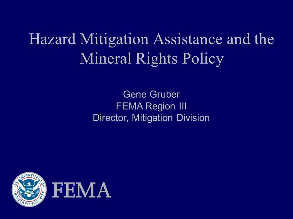 Hazard Mitigation Assistance and the Mineral Rights Policy Gene Gruber FEMA Region III Director, Mitigation Division