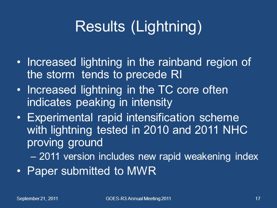 Results (Lightning) Increased lightning in the rainband region of the storm tends to precede RI Increased lightning in the TC core often indicates pea