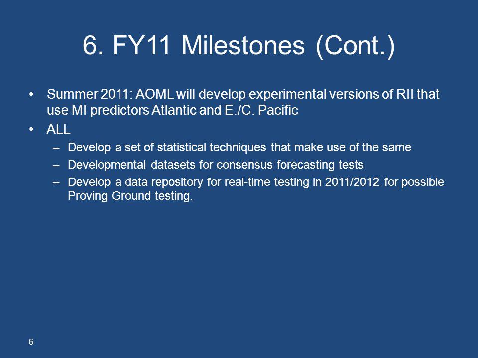 6. FY11 Milestones (Cont.) Summer 2011: AOML will develop experimental versions of RII that use MI predictors Atlantic and E./C. Pacific ALL –Develop