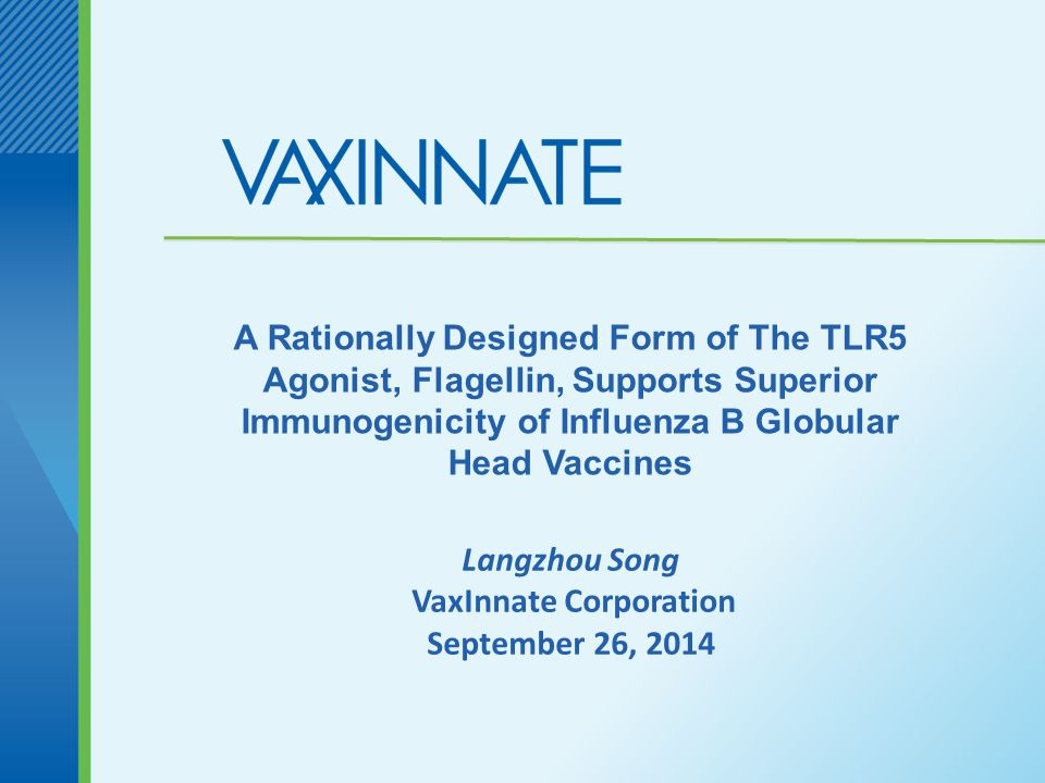 Langzhou Song VaxInnate Corporation September 26, 2014 A Rationally Designed Form of The TLR5 Agonist, Flagellin, Supports Superior Immunogenicity of Influenza B Globular Head Vaccines