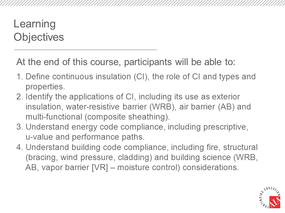 Learning Objectives 1. Define continuous insulation (CI), the role of CI and types and properties.