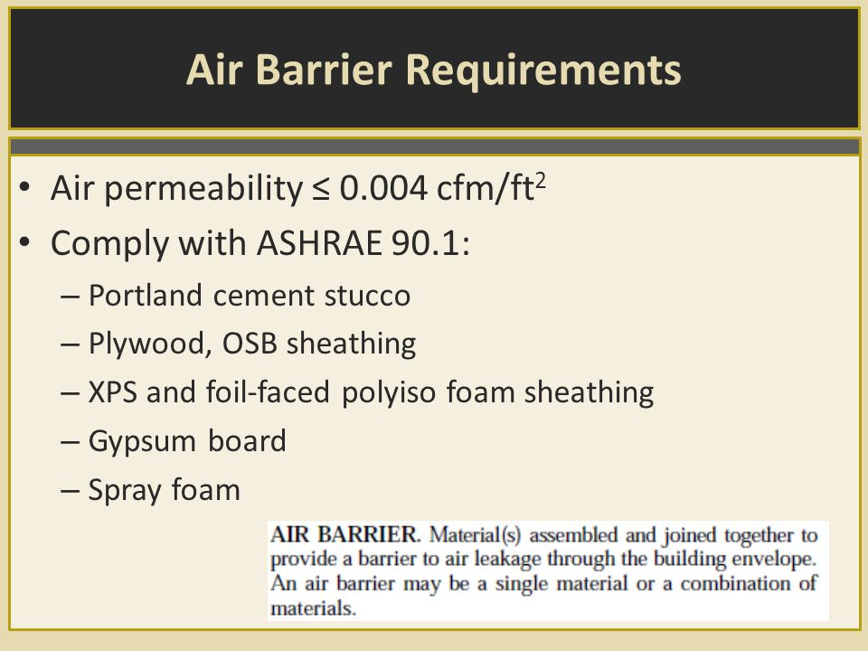 Air Barrier Requirements Air permeability ≤ 0.004 cfm/ft 2 Comply with ASHRAE 90.1: – Portland cement stucco – Plywood, OSB sheathing – XPS and foil-faced polyiso foam sheathing – Gypsum board – Spray foam
