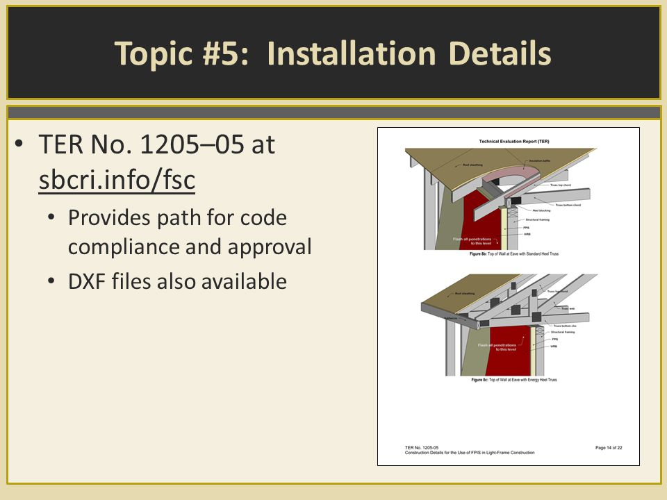 Topic #5: Installation Details TER No.