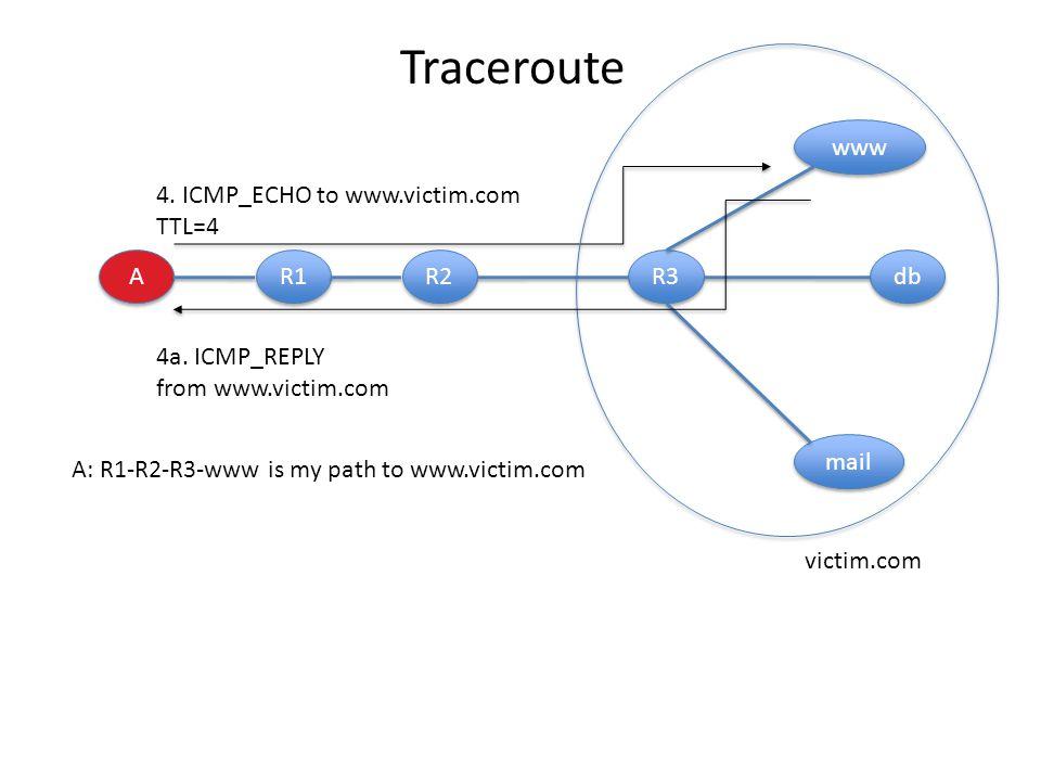 A A R1 R2 R3 db www mail 4. ICMP_ECHO to www.victim.com TTL=4 4a.