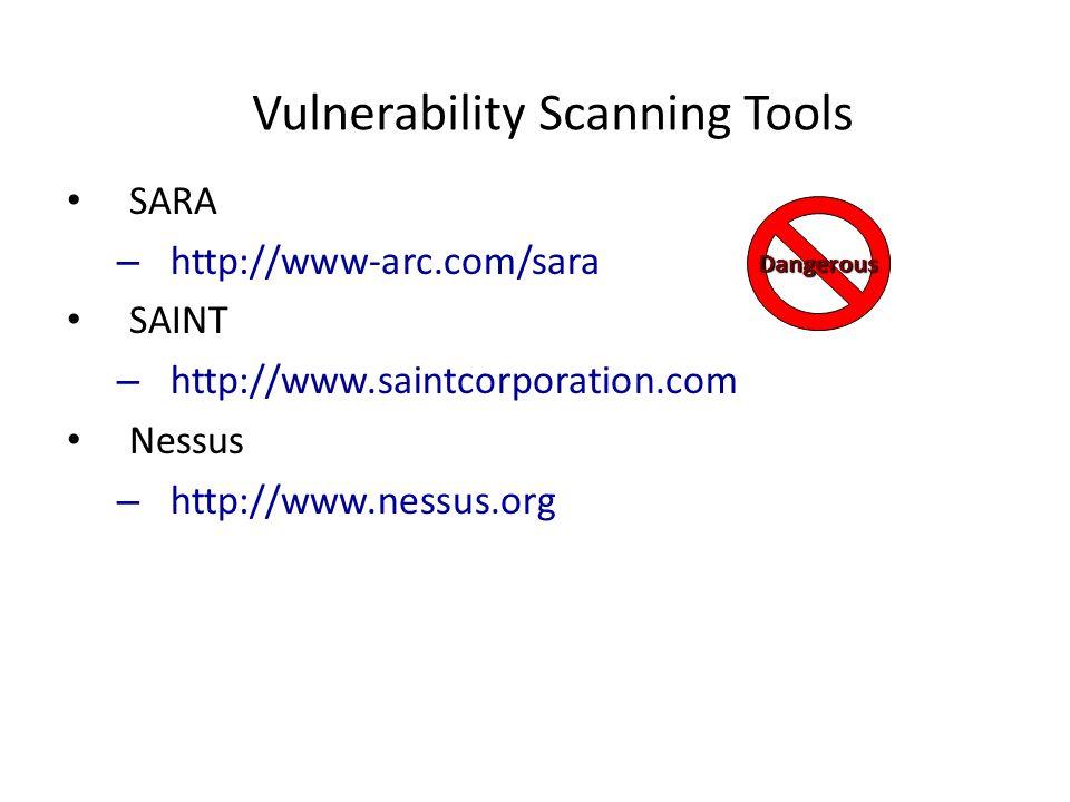 Vulnerability Scanning Tools SARA – http://www-arc.com/sara SAINT – http://www.saintcorporation.com Nessus – http://www.nessus.org Dangerous