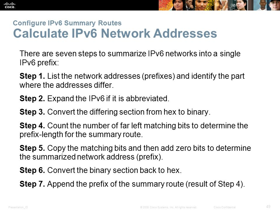 Presentation_ID 49 © 2008 Cisco Systems, Inc. All rights reserved.Cisco Confidential Configure IPv6 Summary Routes Calculate IPv6 Network Addresses Th