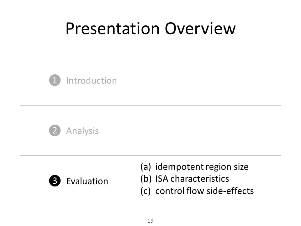 19 Presentation Overview ❶ Introduction ❷ Analysis ❸ Evaluation (a)idempotent region size (b)ISA characteristics (c)control flow side-effects