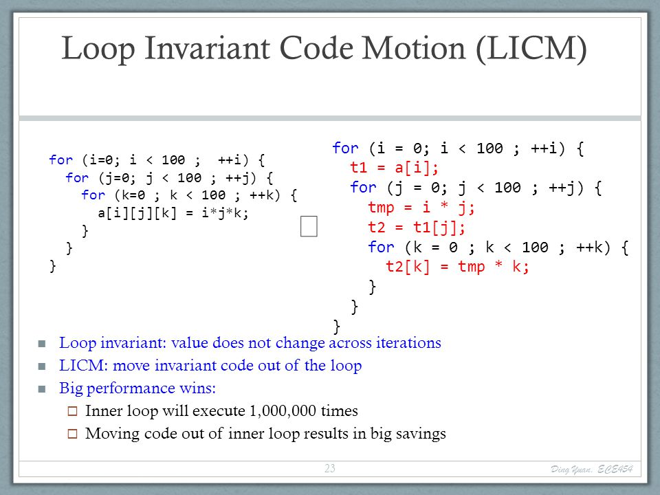 Loop Invariant Code Motion (LICM) for (i=0; i < 100 ; ++i) { for (j=0; j < 100 ; ++j) { for (k=0 ; k < 100 ; ++k) { a[i][j][k] = i*j*k; } Loop invariant: value does not change across iterations LICM: move invariant code out of the loop Big performance wins:  Inner loop will execute 1,000,000 times  Moving code out of inner loop results in big savings  for (i = 0; i < 100 ; ++i) { t1 = a[i]; for (j = 0; j < 100 ; ++j) { tmp = i * j; t2 = t1[j]; for (k = 0 ; k < 100 ; ++k) { t2[k] = tmp * k; } Ding Yuan, ECE454 23