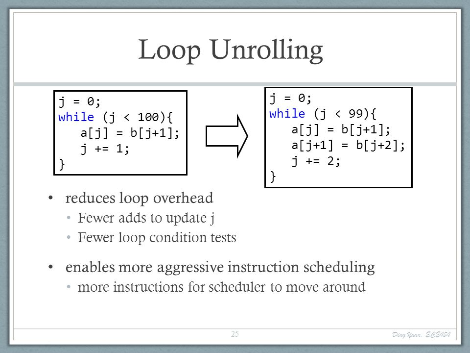 Loop Unrolling reduces loop overhead Fewer adds to update j Fewer loop condition tests enables more aggressive instruction scheduling more instruction