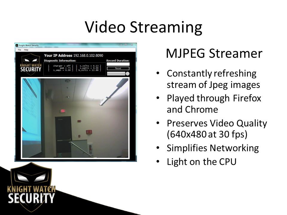 Video Streaming Constantly refreshing stream of Jpeg images Played through Firefox and Chrome Preserves Video Quality (640x480 at 30 fps) Simplifies Networking Light on the CPU MJPEG Streamer