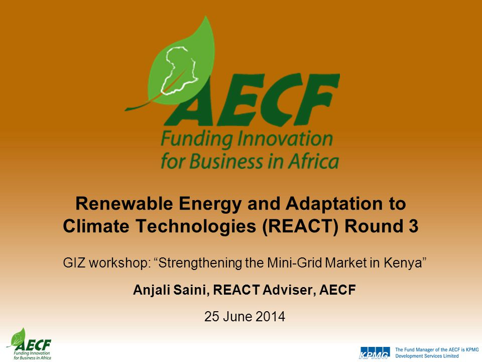 Renewable Energy and Adaptation to Climate Technologies (REACT) Round 3 GIZ workshop: Strengthening the Mini-Grid Market in Kenya Anjali Saini, REACT Adviser, AECF 25 June 2014