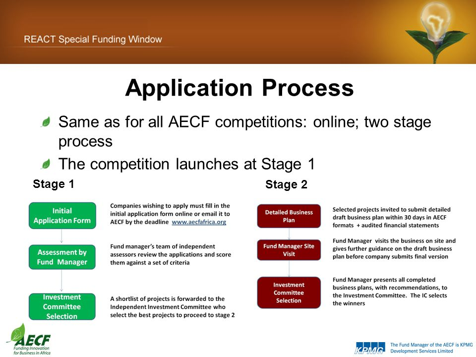 Application Process Same as for all AECF competitions: online; two stage process The competition launches at Stage 1 Stage 1 Stage 2