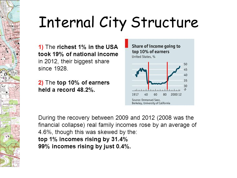 Internal City Structure 1) The richest 1% in the USA took 19% of national income in 2012, their biggest share since 1928.