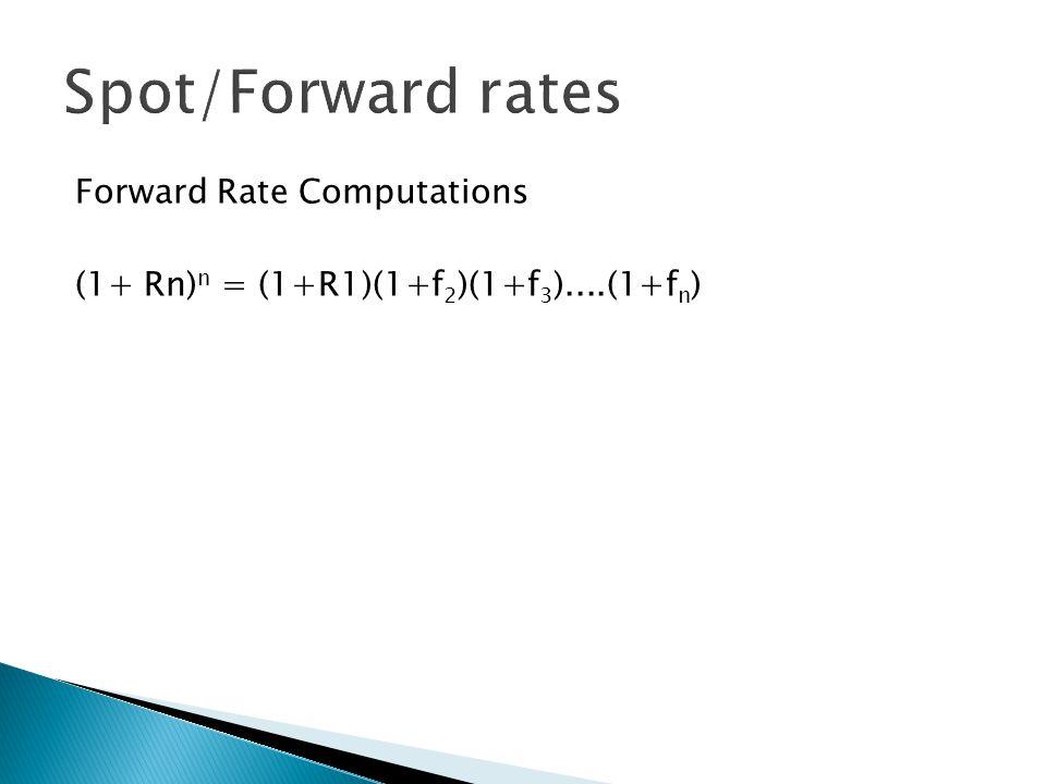 Forward Rate Computations (1+ Rn) n = (1+R1)(1+f 2 )(1+f 3 )....(1+f n )