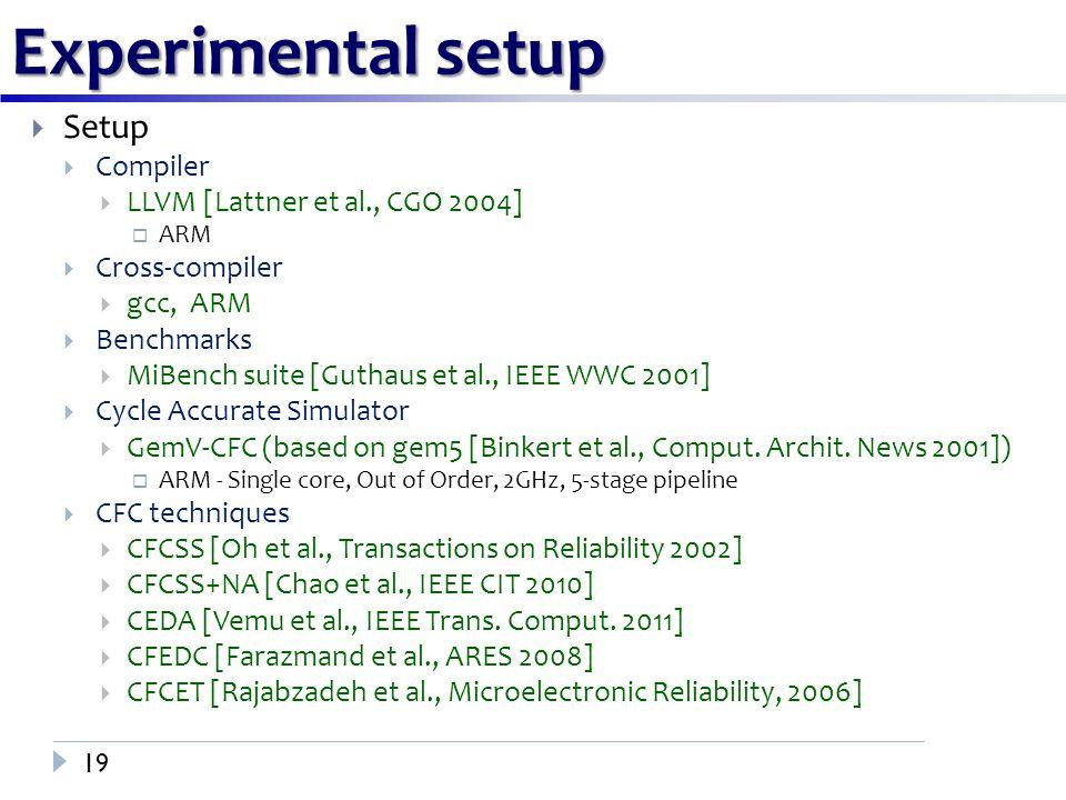 Experimental setup 19  Setup  Compiler  LLVM [Lattner et al., CGO 2004]  ARM  Cross-compiler  gcc, ARM  Benchmarks  MiBench suite [Guthaus et al., IEEE WWC 2001]  Cycle Accurate Simulator  GemV-CFC (based on gem5 [Binkert et al., Comput.
