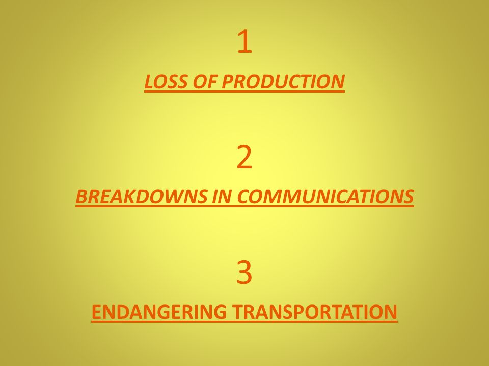 1 LOSS OF PRODUCTION 2 BREAKDOWNS IN COMMUNICATIONS 3 ENDANGERING TRANSPORTATION