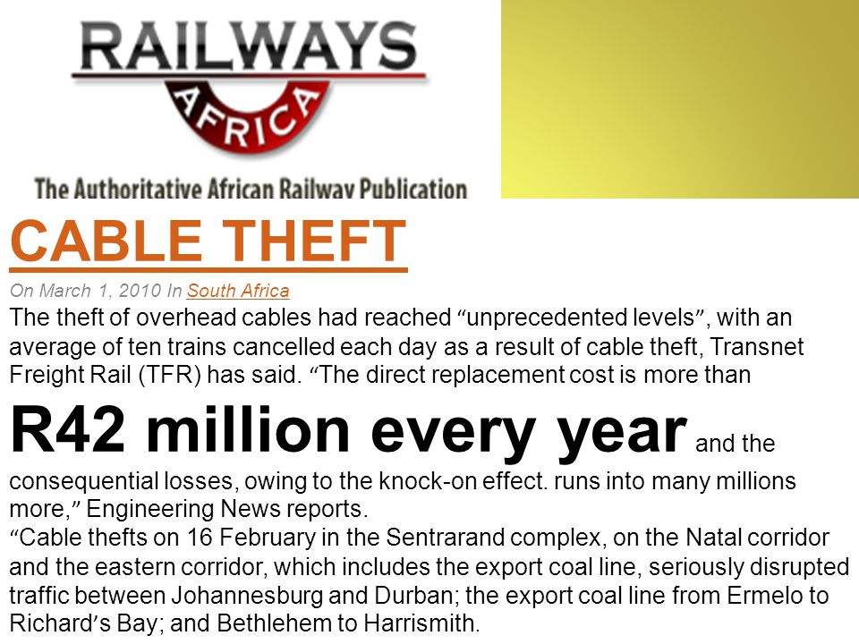 Cable theft threatens intelligent traffic systems OCTOBER 1, 2009 by roadsafety