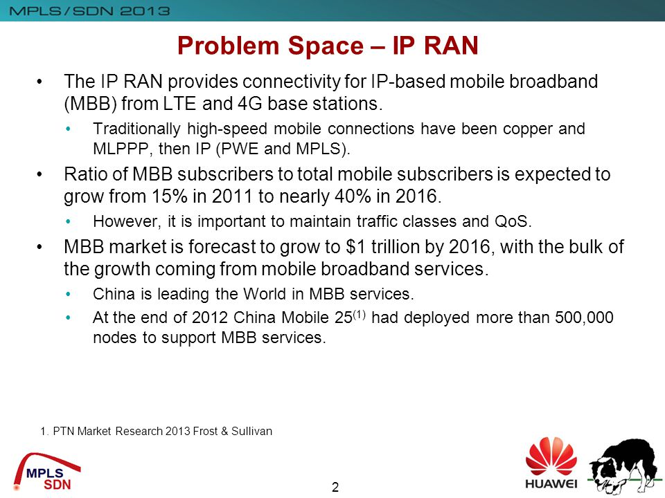 Insert Company Logo Here 2 Problem Space – IP RAN The IP RAN provides connectivity for IP-based mobile broadband (MBB) from LTE and 4G base stations.