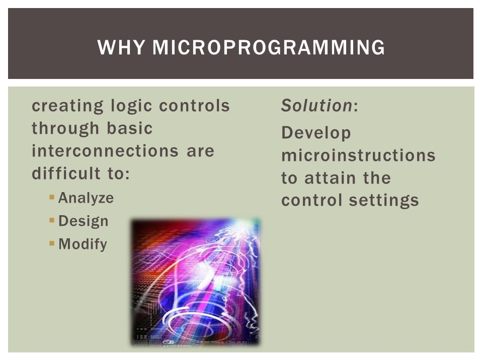 creating logic controls through basic interconnections are difficult to:  Analyze  Design  Modify Solution: Develop microinstructions to attain the