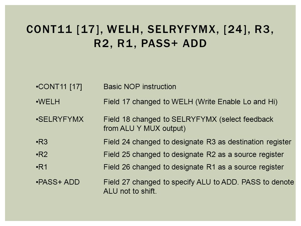 CONT11 [17]Basic NOP instruction WELHField 17 changed to WELH (Write Enable Lo and Hi) SELRYFYMXField 18 changed to SELRYFYMX (select feedback from AL