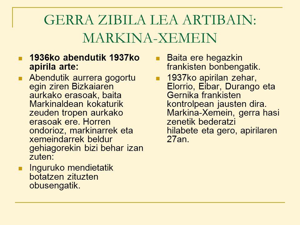 GERRA ZIBILA LEA ARTIBAIN: MARKINA-XEMEIN 1936ko abendutik 1937ko apirila arte: Abendutik aurrera gogortu egin ziren Bizkaiaren aurkako erasoak, baita Markinaldean kokaturik zeuden tropen aurkako erasoak ere.