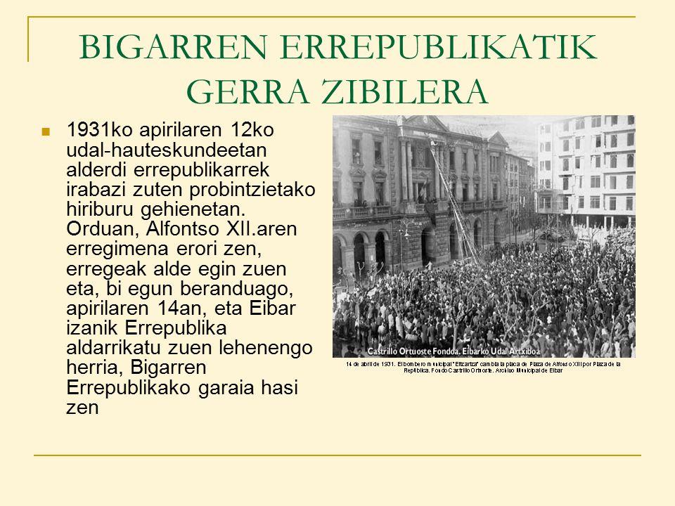 GERRA ZIBILA EUSKAL HERRIAN Gerra Bizkaian: Euskal Herrian, gerraren azken fasea matxinatuek Madril eskuratzeko egin zuten saiakeraren ondoren hasi zen, hau da, 1936- 37ko neguaren ondoren.