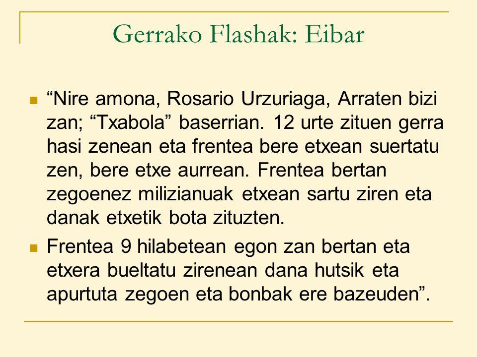 Gerrako Flashak: Eibar Nire amona, Rosario Urzuriaga, Arraten bizi zan; Txabola baserrian.