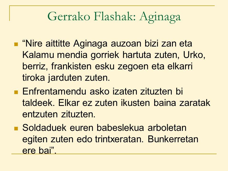 Gerrako Flashak: Aginaga Nire aittitte Aginaga auzoan bizi zan eta Kalamu mendia gorriek hartuta zuten, Urko, berriz, frankisten esku zegoen eta elkarri tiroka jarduten zuten.