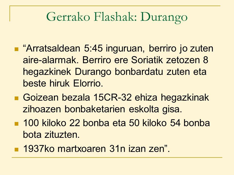 Gerrako Flashak: Durango Arratsaldean 5:45 inguruan, berriro jo zuten aire-alarmak.