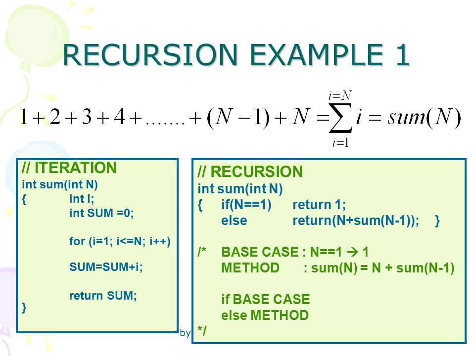 by Senem Kumova Metin 24 RECURSION EXAMPLE 1 // ITERATION int sum(int N) { int i; int SUM =0; for (i=1; i<=N; i++) SUM=SUM+i; return SUM; } // RECURSION int sum(int N) { if(N==1) return 1; else return(N+sum(N-1));} /* BASE CASE : N==1  1 METHOD : sum(N) = N + sum(N-1) if BASE CASE else METHOD */
