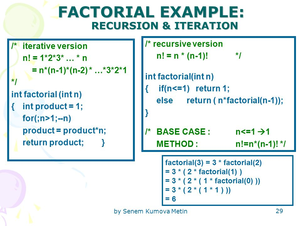 by Senem Kumova Metin 29 FACTORIAL EXAMPLE: RECURSION & ITERATION /*iterative version n.