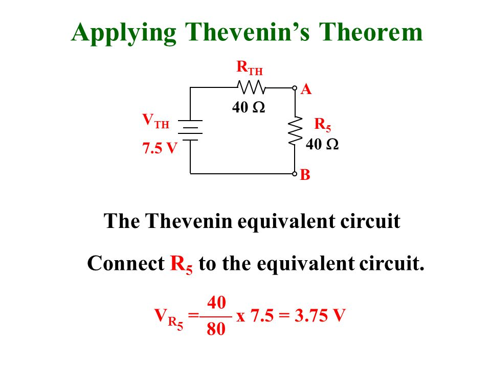 Applying Thevenin's Theorem R TH 7.5 V V TH 40  A B The Thevenin equivalent circuit 40  R5R5 Connect R 5 to the equivalent circuit.