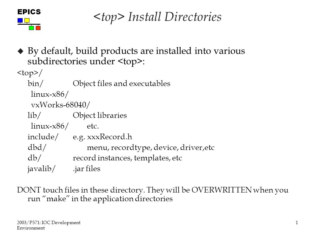 1 2003/P571: IOC Development Environment EPICS Install Directories  By default, build products are installed into various subdirectories under : / bin/Object files and executables linux-x86/ vxWorks-68040/ lib/Object libraries linux-x86/etc.