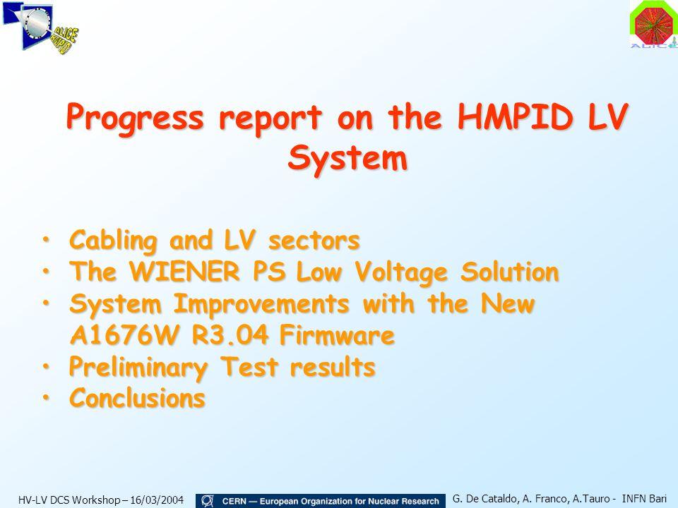 HV-LV DCS Workshop – 16/03/2004 G.De Cataldo, A.
