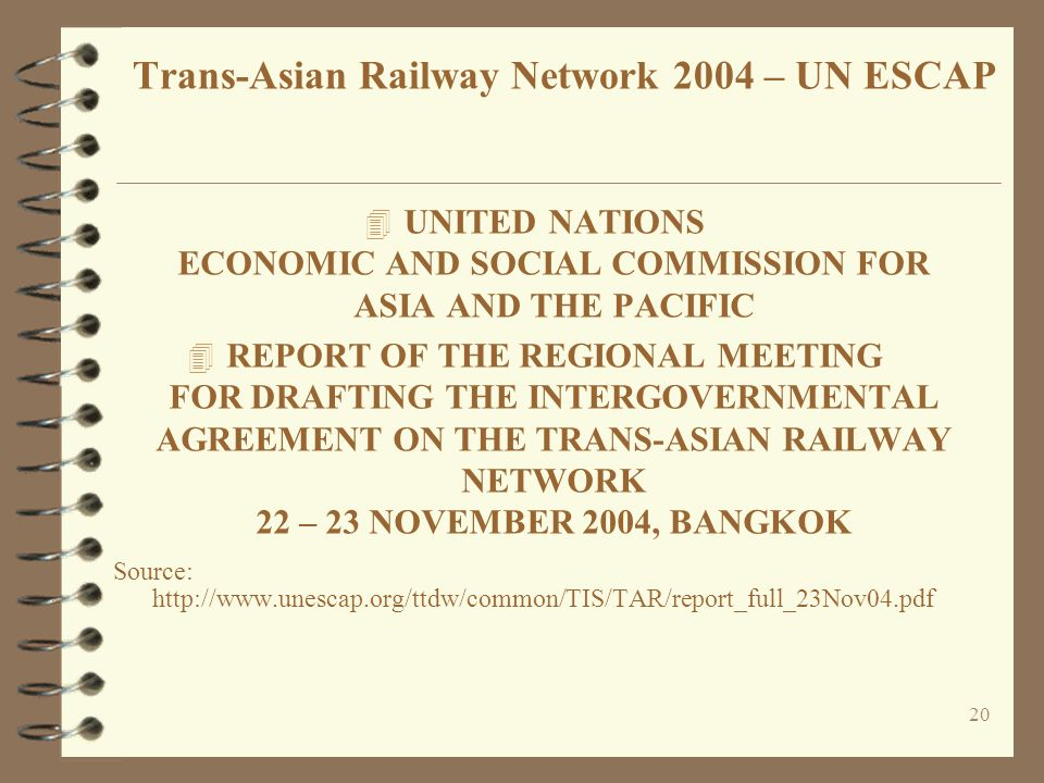 20 4 UNITED NATIONS ECONOMIC AND SOCIAL COMMISSION FOR ASIA AND THE PACIFIC 4 REPORT OF THE REGIONAL MEETING FOR DRAFTING THE INTERGOVERNMENTAL AGREEM