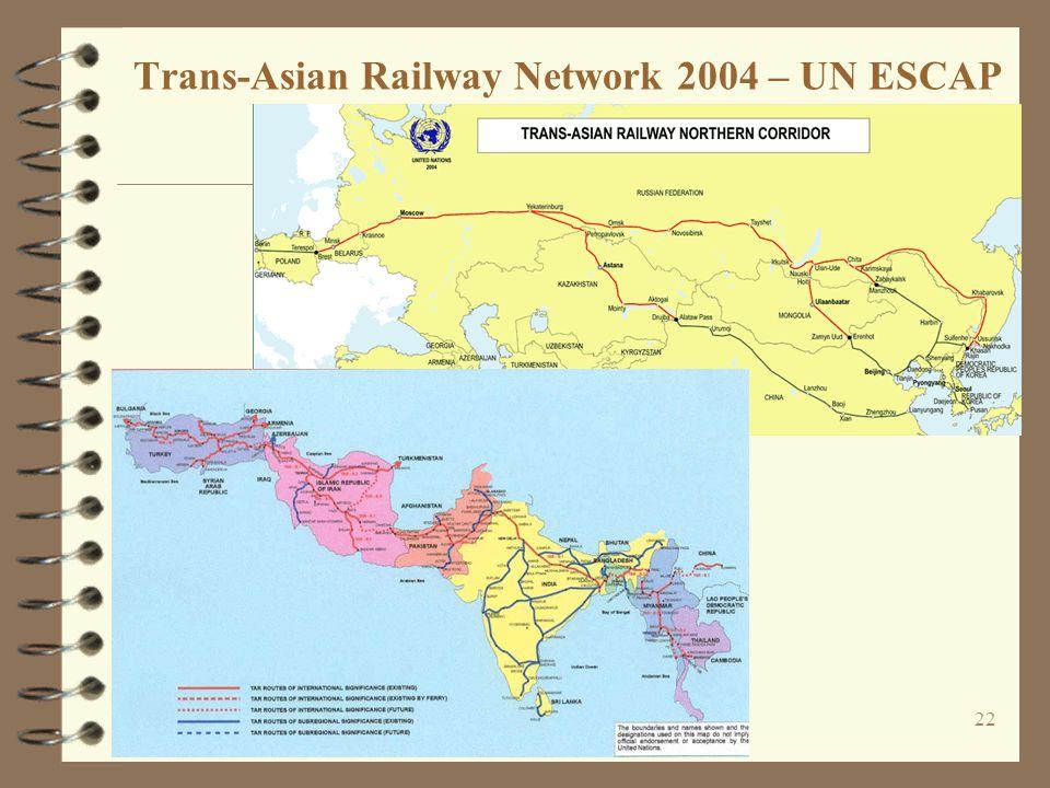 22 Trans-Asian Railway Network 2004 – UN ESCAP