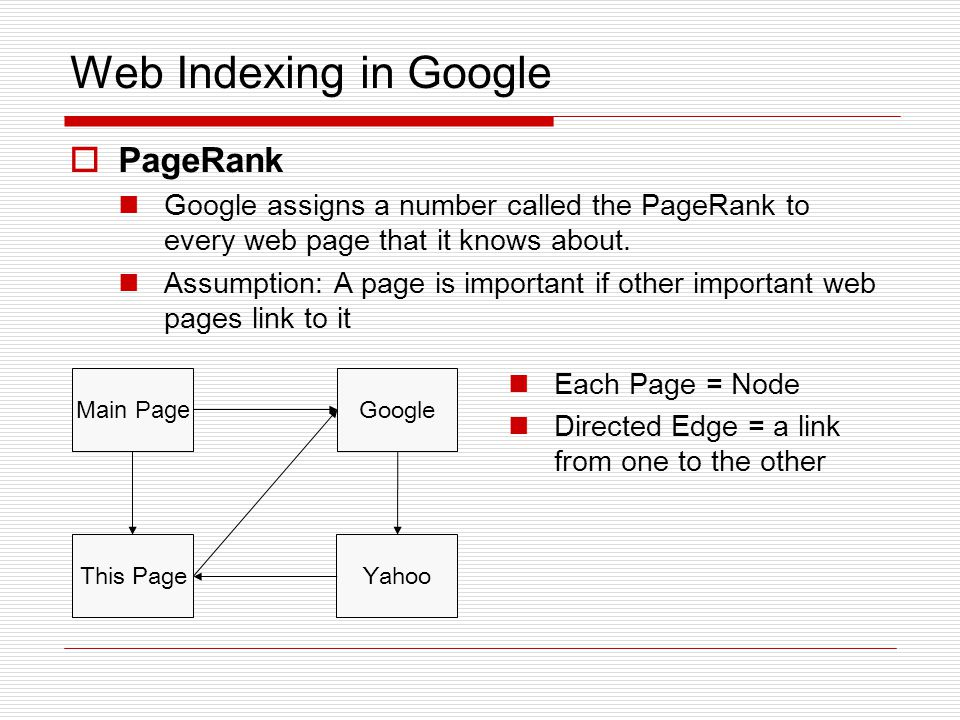 Web Indexing in Google  PageRank Google assigns a number called the PageRank to every web page that it knows about.