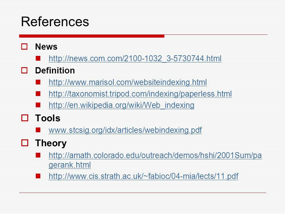 References  News http://news.com.com/2100-1032_3-5730744.html  Definition http://www.marisol.com/websiteindexing.html http://taxonomist.tripod.com/i