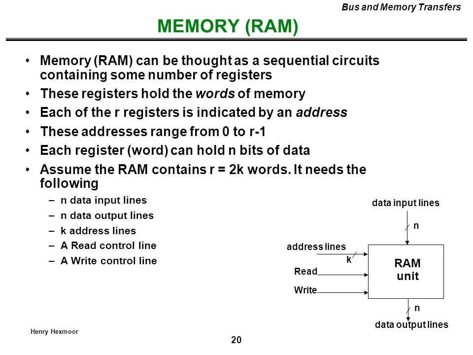 20 Henry Hexmoor MEMORY (RAM) Bus and Memory Transfers Memory (RAM) can be thought as a sequential circuits containing some number of registers These