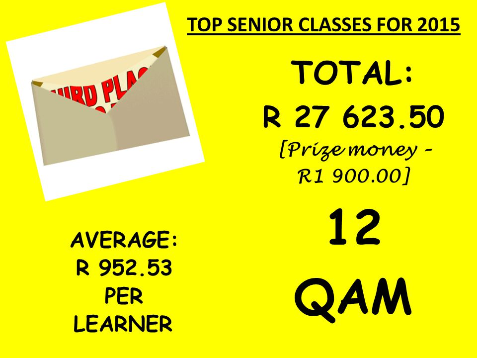 TOP SENIOR CLASSES FOR 2015 AVERAGE: R 952.53 PER LEARNER TOTAL: R 27 623.50 [Prize money – R1 900.00] 12 QAM