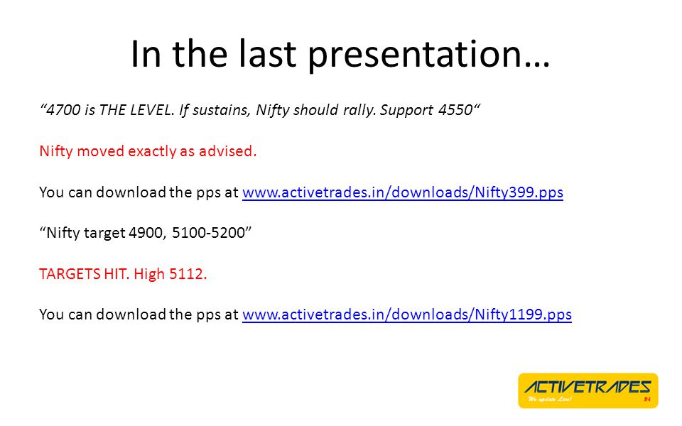 In the last presentation… 4700 is THE LEVEL. If sustains, Nifty should rally.