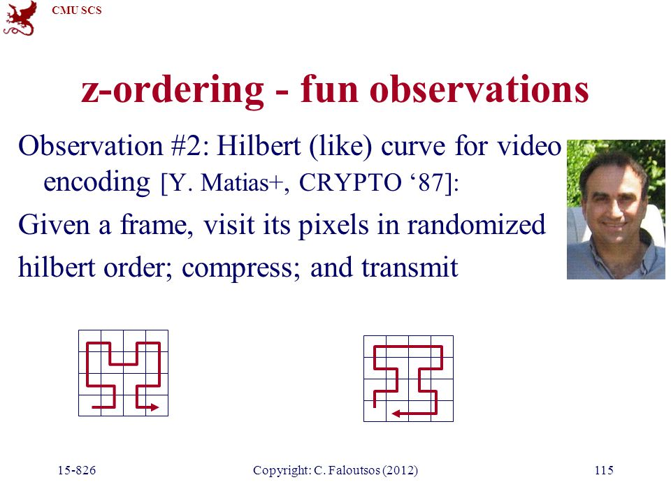 CMU SCS 15-826Copyright: C. Faloutsos (2012)115 z-ordering - fun observations Observation #2: Hilbert (like) curve for video encoding [Y. Matias+, CRY