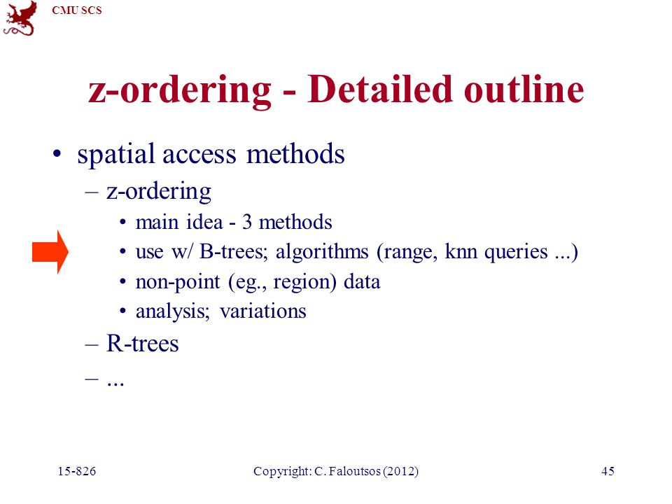 CMU SCS 15-826Copyright: C. Faloutsos (2012)45 z-ordering - Detailed outline spatial access methods –z-ordering main idea - 3 methods use w/ B-trees;