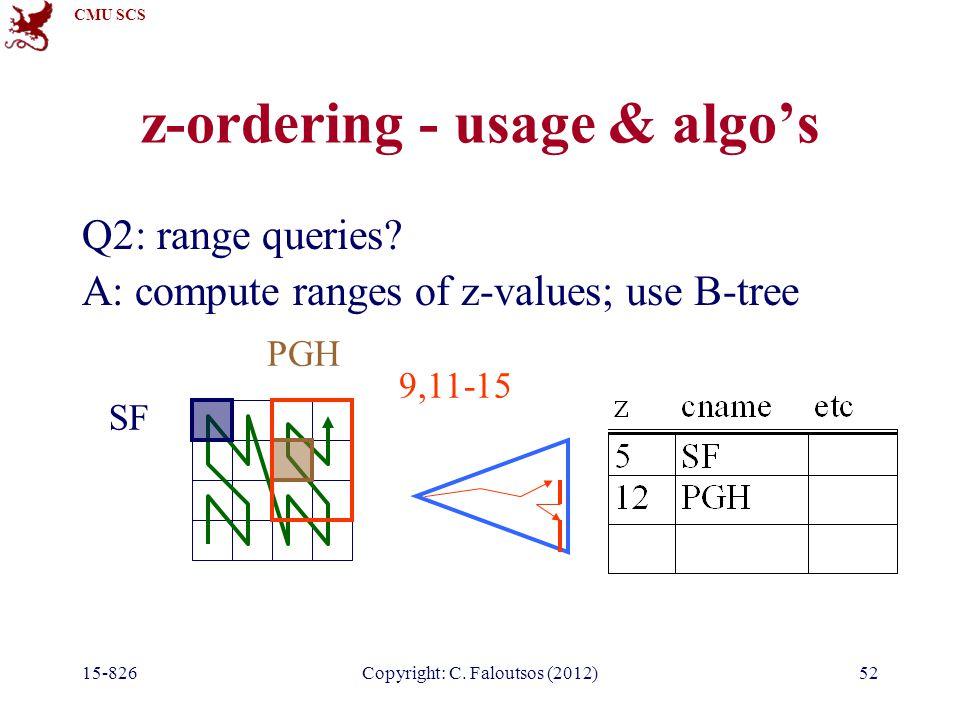 CMU SCS 15-826Copyright: C. Faloutsos (2012)52 z-ordering - usage & algo's Q2: range queries.