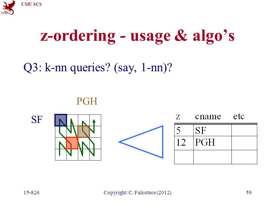 CMU SCS 15-826Copyright: C. Faloutsos (2012)59 z-ordering - usage & algo's Q3: k-nn queries.