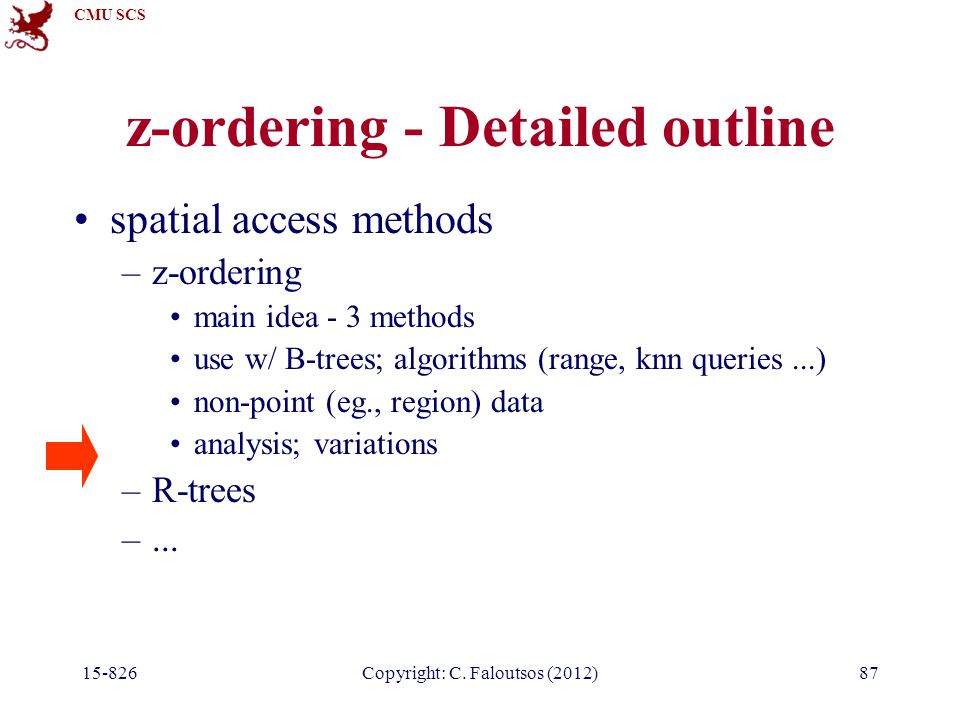 CMU SCS 15-826Copyright: C. Faloutsos (2012)87 z-ordering - Detailed outline spatial access methods –z-ordering main idea - 3 methods use w/ B-trees;